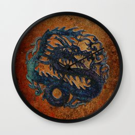 Blue Chinese Dragon on Stone Background Wall Clock