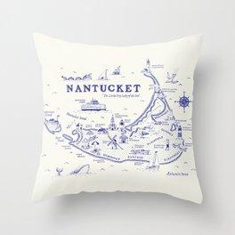 Nantucket Map Throw Pillow