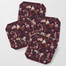 Cat and Floral Pattern Coaster