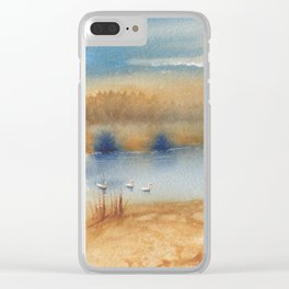 2 Colors - 3 Swans Clear iPhone Case