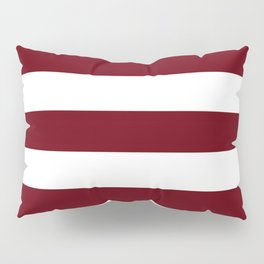 Rosewood - solid color - white stripes pattern Pillow Sham