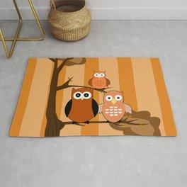 Orange Owls Rug