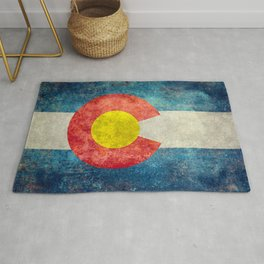 Colorado flag with Grungy Textures Rug