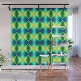 Green Blue Metallic Diamond Harlequin Pattern Wall Mural
