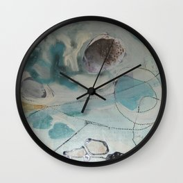 still waters - mixed media ocean collage in modern fresh colors mint, teal, cream, white, and gold Wall Clock