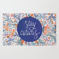 coral Area & Throw Rugs featuring Stay Curious – Navy & Coral by Cat Coquillette