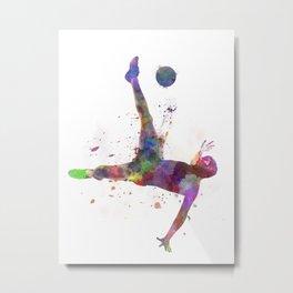 man soccer football player flying kicking silhouette Metal Print