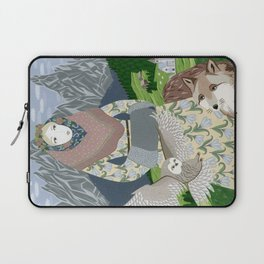 Lady with an owl and a dog Laptop Sleeve
