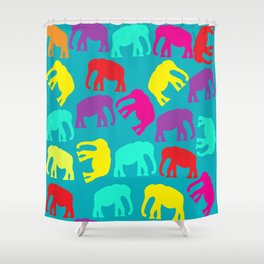 Elephants in blue background Shower Curtain