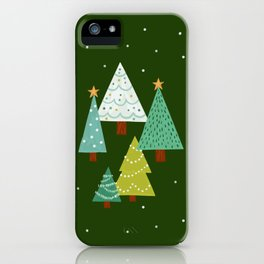 Holly Jolly Christmas Trees - Green iPhone Case
