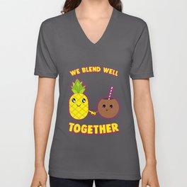 We Blend Well Together Funny Pineapple Coconut Pun Unisex V-Neck