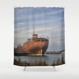 John Sherwin Great Lakes Freighter Shower Curtain
