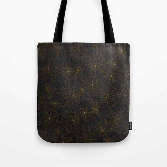 Autumn-world 4 - gold spiderwebs on chalkboard Tote Bag