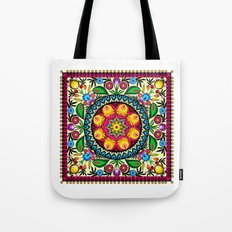 folk flowers collage Tote Bag