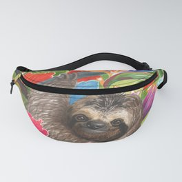 Sloth among exotic flowers Fanny Pack