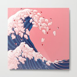 Christmas Baby Pigs The Great Wave in Pink Metal Print