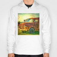 truck Hoodies featuring Old Rusty Bedford Truck by Wendy Townrow
