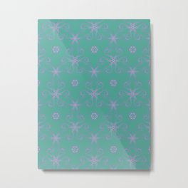 Green garden Swirl Repeating Pattern Metal Print