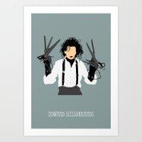 edward scissorhands Art Prints featuring edward scissorhands by Live It Up