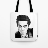 "nick cave Tote Bags featuring ""Nick Cave"" by Jocke Hegsund"