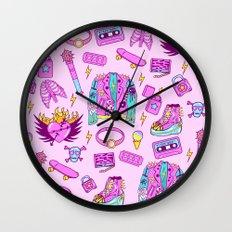 Pink Punk Girly Pattern Wall Clock