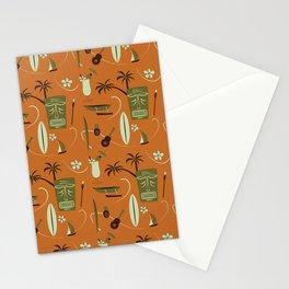 Orange Retro Hawaiian Tiki Hawaii Beach Stationery Cards
