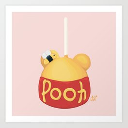 Pooh Bear Candy Apple Stick Art Print