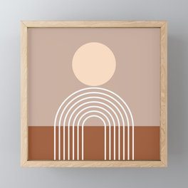 Geometric Lines in Terracotta Brown Beige (Sun and Rainbow abstraction) Framed Mini Art Print