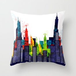 Colorful City Buildings And Skyscrapers In Watercolor, New York Skyline, Wall Art Poster Decor, NYC Throw Pillow