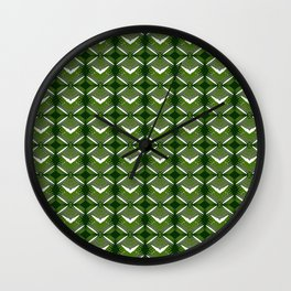 Grassy rhombuses of white stars with hearts in a bright intersection. Wall Clock