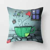 cup Throw Pillows featuring cup by Maria Sciarnamei