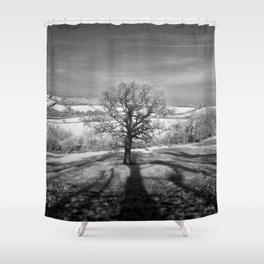 Lone tree over the East Somerset Railway Shower Curtain
