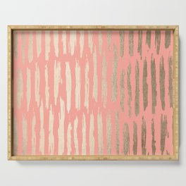 Vertical Dash Tahitian Gold on Coral Pink Stripes Serving Tray