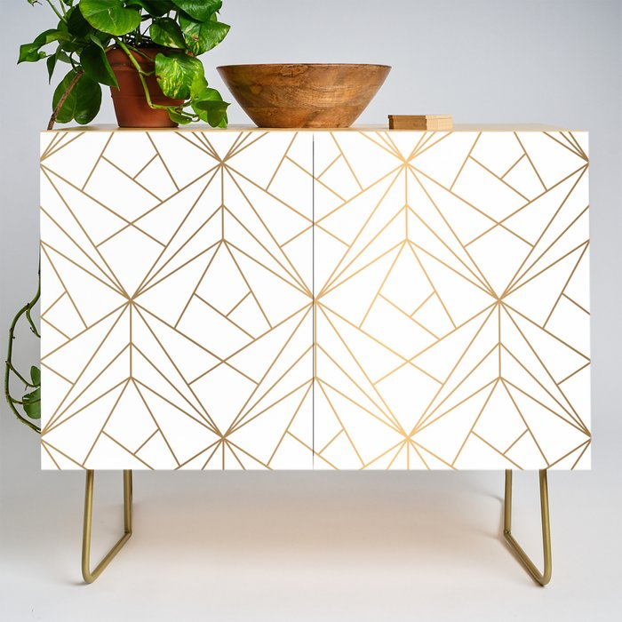 Modern Credenza Cupboard | Geometric Gold Pattern With White Shimmer by Vic Torys - Gold - Birch - Society6