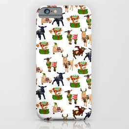 Christmas goats in sweaters repeating seamless pattern iPhone Case