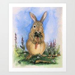 Bunny and Carrots Illustration Art Print