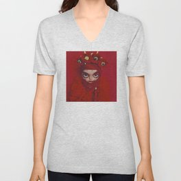 RED Blythe doll by Erregiro Unisex V-Neck