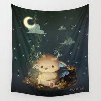 fireflies Wall Tapestries featuring Fireflies catcher by CookiesOChocola