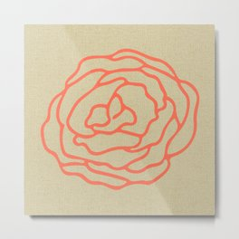 Rose in Deep Coral on Linen Metal Print