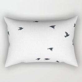 Ravens Birds in Black and White Rectangular Pillow