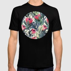 Painted Protea Pattern MEDIUM Black Mens Fitted Tee