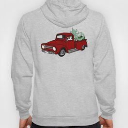 Pit Bull In Old Red Truck With Whimsical Christmas Tree Hoody