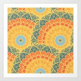 Mandala pattern #6 - yellow, green, orange Art Print