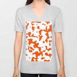 Large Spots - White and Dark Orange Unisex V-Neck