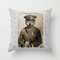general Throw Pillows featuring The general by Seamless