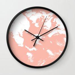 Marble pink 3 Suminagashi watercolor pattern art pisces water wave ocean minimal design Wall Clock