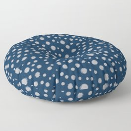 Navy painted dots polka dots minimal basic decor grey and blue pattern Floor Pillow