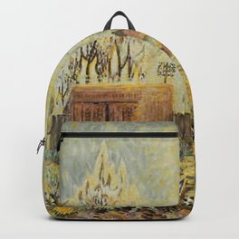 Backyard in Golden Summer Sunlight floral landscape painting by C. Burchfield Backpack