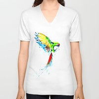 military V-neck T-shirts featuring Military Macaw by ARealpe