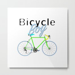 Bicycle Boy – June 12th – 200th Birthday of the Bicycle Metal Print
